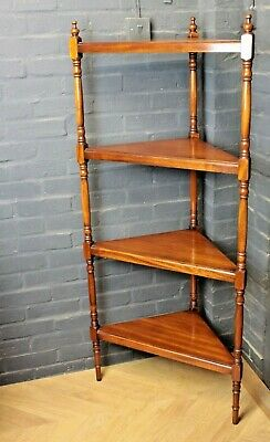 Antique Victorian Style Mahogany Four Tier Corner Shelving Whatnot Stand