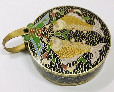 Antique Chinese Cloisonne Pendant With Magnifying Lense Swivel Koi Fish. (1941).