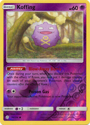 x4 Koffing - 76/236 - Common - Reverse Holo Pokemon SM12 Cosmic Eclipse M/NM Eng