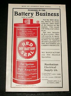 1906 Old Magazine Print Ad, Manhattan Electrical Supply, Red Seal Dry Battery!