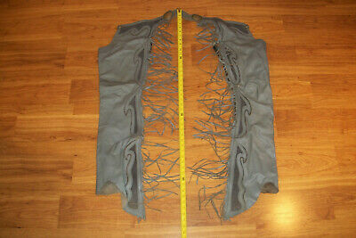 Vintage Olive Green/Gray Leather Western Riding Cowboy Zippered Chaps w/ Fringe
