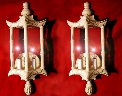SET of 2- Rare, HAND CARVED, BASS WOOD, Oriental Design Wall SCONCES!!