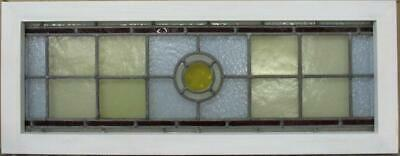 "VICTORIAN ENGLISH LEADED STAINED GLASS WINDOW Gorgeous Geometric 34.5"" x 13.25"""