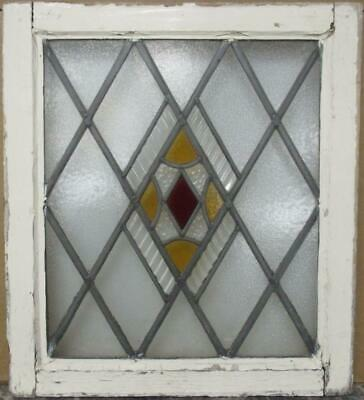 "OLD ENGLISH LEADED STAINED GLASS WINDOW Gorgeous Diamond Lead 19"" x 21.25"""