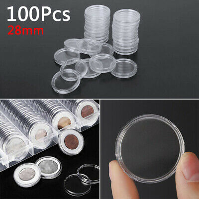 100Pcs 28mm Coin Cases Capsules Holder Applied Clear Plastic Round Storage Boxes