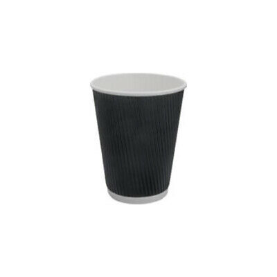 25x Paper Coffee Cup 12oz / 354mL Triple Wall Black Ripple Wrap Hot Disposable
