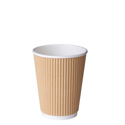 25x Paper Coffee Cup 12oz / 354ml Triple Wall Brown Ripple Wrap Hot Disposable