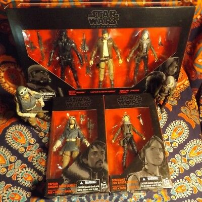"7 STAR WARS Black Series 6"" Inch Figures Target DEATH TROOPER + CASSIAN & JYN X3"