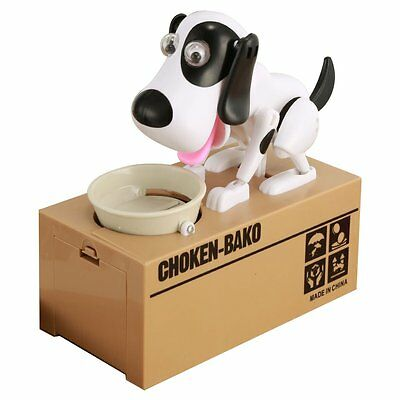 Choken Puppy Hungry Dog Automatic Eating Coin Bank Money Saving Box Piggy Bank