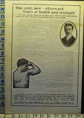 1904 Swoboda Exercise Fitness Muscle Medical Cure Health Quack Vintage Ad  L37