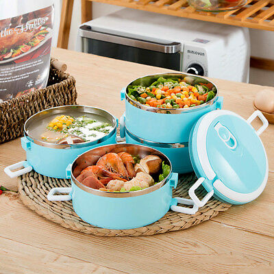 Stainless Steel Portable Food Container Thermal Insulated Round Lunch Box Bento