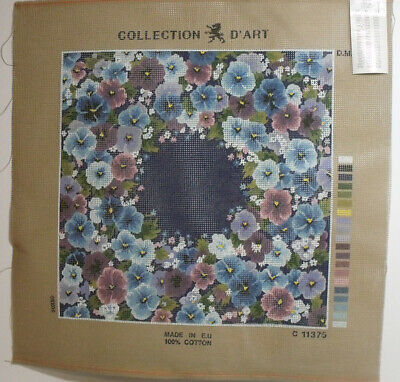 Collection D'Art Wool Tapestry Cushion Cover Kit Floral Theme including yarn