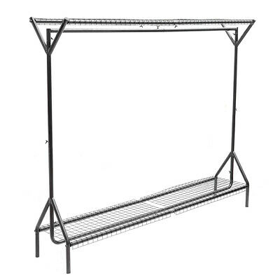 Heavy Duty Hanging Clothes Garment Rail with Shoe Rack Shelf and Hat Stand Black