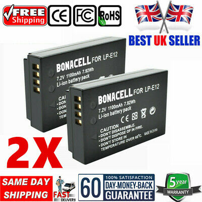 UK 2x 1100mAh Battery For Canon LP-E12 EOS M,M50,M2,M100,M10,100D, Rebel SL1 WM