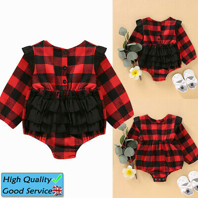 Baby Girls Long Sleeve Ruffled Bodysuit Toddler Lace Plaid Romper Christmas Suit