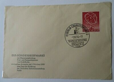 1950 Berlin European Recovery Programme Fdi Stamp And Cache On Cover