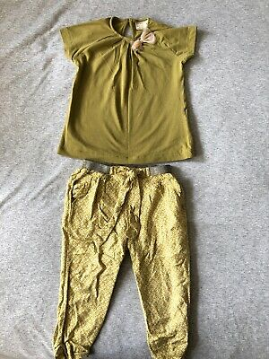 Girls Zara Floral Yellow /green Trousers & Pistachio Top Age 2-3 Years