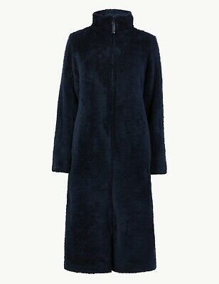Ladies Ex Marks & Spencer Supersoft Long Pile Zipup Dressing Gown House Coat M&S
