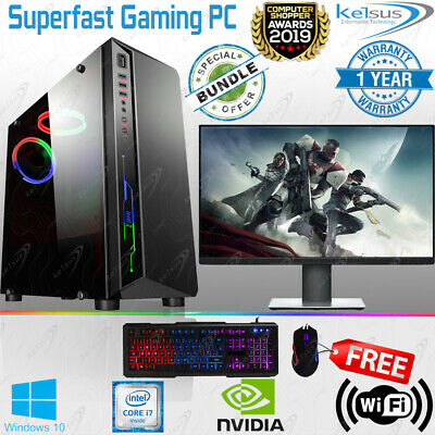 Fast Quad Core i7 Gaming PC Desktop Bundle 240SSD + 1TB 16GB RAM GTX 1650 1660