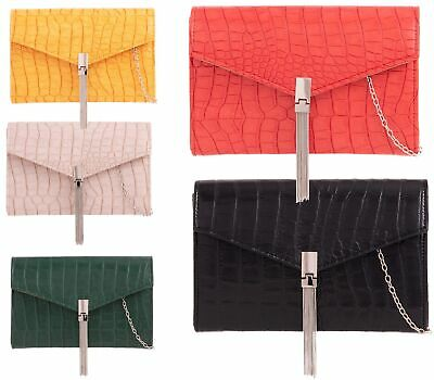 New Ladies Faux Leather Flat Chain Tassel Envelope Prom Party Clutch Bag Purse