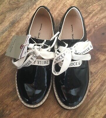 NWT Zara Kids Girls Derby Shoes With Slogan Laces Black Size 11 EU28 3502/303