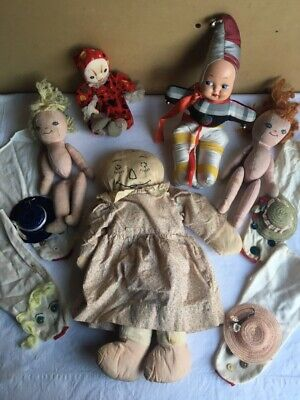 Vintage Rag Cloth Doll Lot Primitive Hand Made Hand Puppets