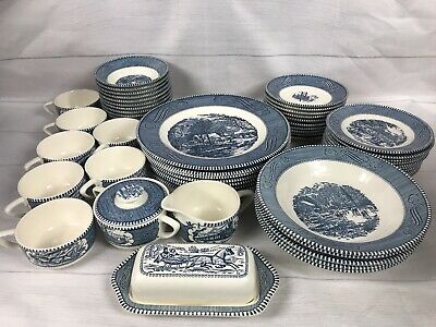 "CURRIER and IVES 54 PIECE SET lot  ""The Old Grist Mill"" Royal China Blue"