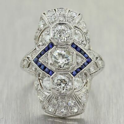 1930's Antique Art Deco Platinum 3.20ctw Diamond & Sapphire Ring