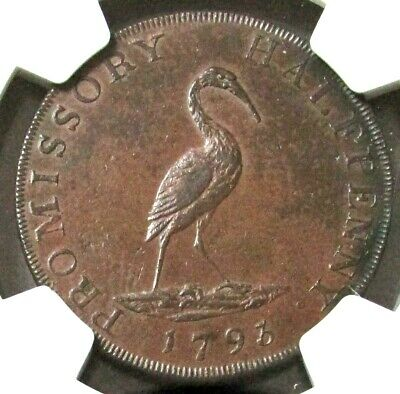 1793 Great Britain 1/2 Penny Hampshire-Petersfield Stork Ngc Au 58 Bn D&H 47