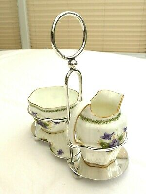 Victorian Porcelain Cream Jug & Sugar Bowl In Silver Plated Stand    1440773/779