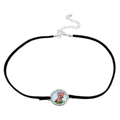 Baby Pig Piglet Hog Black Leather Choker Necklace Pendant Jewelry Gift 4H