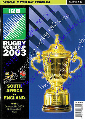 ENGLAND v SOUTH AFRICA RWC 2003 PROGRAMME - RUGBY WORLD CUP VERY GOOD CONDITION