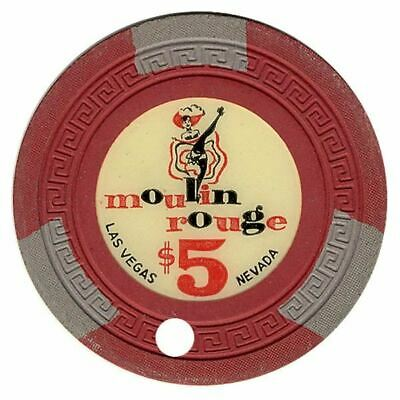 Moulin Rouge Casino Las Vegas NV Cancelled $5 Chip (Can Can Girl) 1955