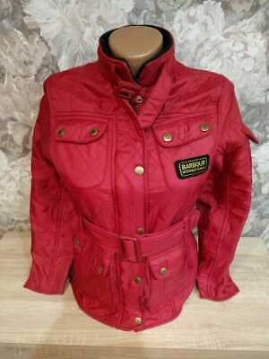 Barbour girl's  quilted jacket hooded size L 10/11 years red color