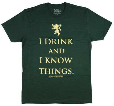 Game of Thrones Men's Tyrion Lannister I Drink and I Know Things T-Shirt GOT