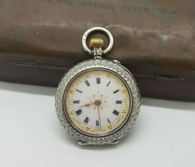 Antique Small Solid Silver Pocket Watch 33 Mm.