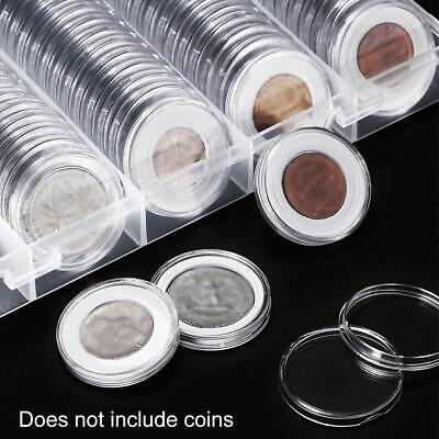 with Holder Plastic Box Storage Container Capsules Pieces  Organiz 22mm 100 Coin