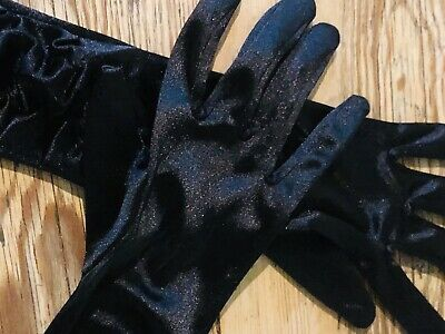 Ladies Vintage Silky Black Ruched Long Opera Gloves.Theatre. Larp . 1920,s .