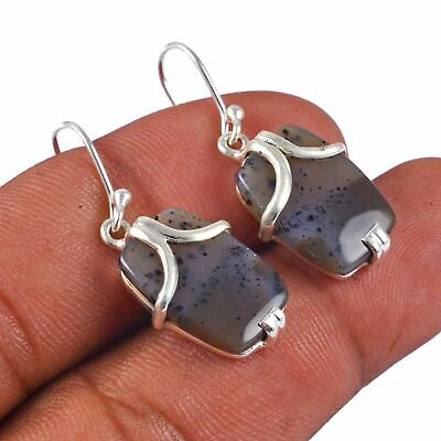 Russian Agate Solid 925 Sterling Silver Earring Jewelry AE-4753