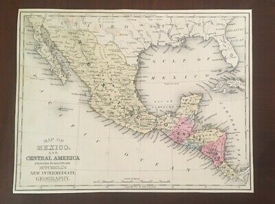 1876 Hand Colored Map Mitchells Engraved Central America Mexico Costa Rica