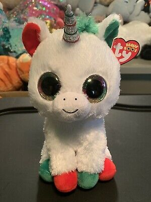 """Ty CANDY CANE -White/Red/Green Holiday Unicorn 10"""" Beanie Boo Buddy! *Retired*"""