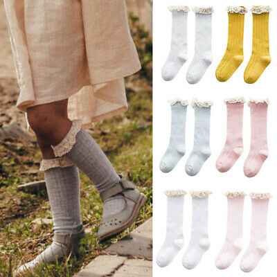 Girls Baby Toddlers Kids Knee High School Socks With Frill Bow Party Dress Socks