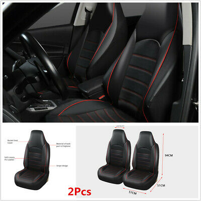 A Pair Black Synthetic Leather Car High Back Bucket Front Car Seat Cover Cushion