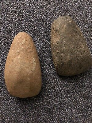 Two Stone Age Hand Held Stone Axe Head.