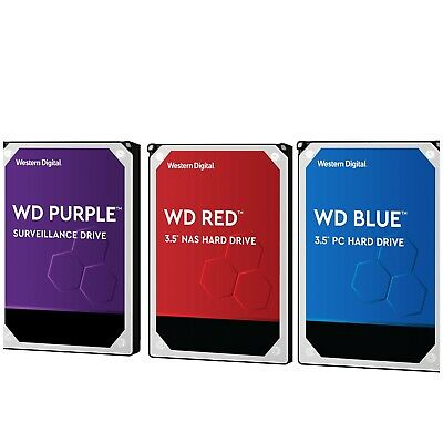 Western Digital Blue Red Purple 1TB 2TB 4TB 6TB 8TB 10TB 3.5 Internal Hard Drive