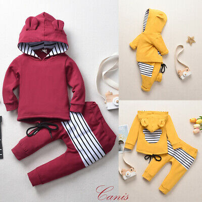 Toddler Kids Baby Girl Boy Hooded Tops Striped Pants Tracksuit Outfit Clothes UK