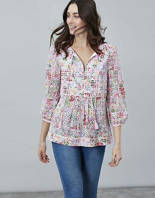 Joules Womens Dariaprint Printed Woven Top Shirt - WHITE FLORAL MEADOW