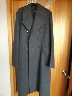 Vintage James Smith & Co thick, blue-grey wool men's trench coat overcoat Size15