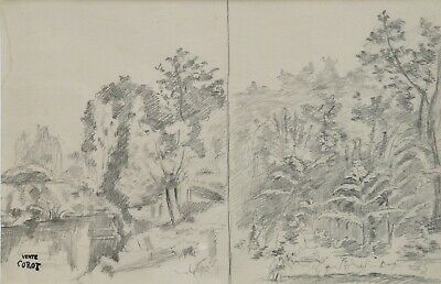 COROT - 19th CENTURY FRENCH DRAWING ON PAPER - STAMPED VENTE COROT