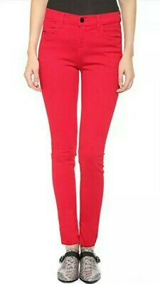 J Brand Maria High-Rise Skinny Jeans in Bright Red 31 fits 29